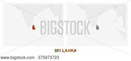 Two Versions Of The Map Of Sri Lanka, With The Flag Of Sri Lanka And Highlighted In Dark Grey. Vecto
