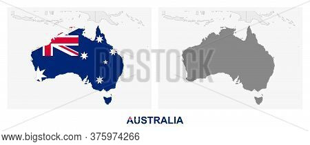 Two Versions Of The Map Of Australia, With The Flag Of Australia And Highlighted In Dark Grey. Vecto