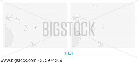 Two Versions Of The Map Of Fiji, With The Flag Of Fiji And Highlighted In Dark Grey. Vector Map.