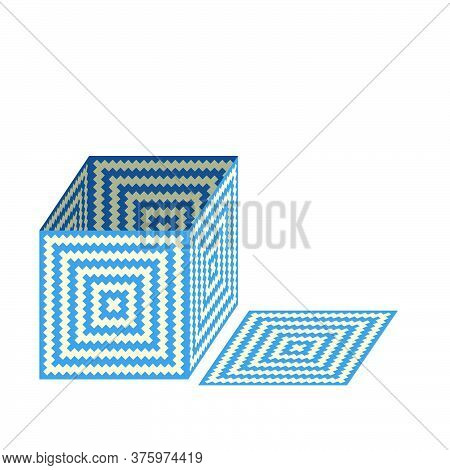 Box With Woven Straw Texture, Vector Illustration