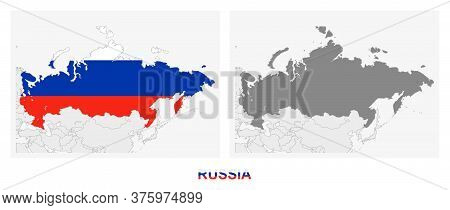 Two Versions Of The Map Of Russia, With The Flag Of Russia And Highlighted In Dark Grey. Vector Map.