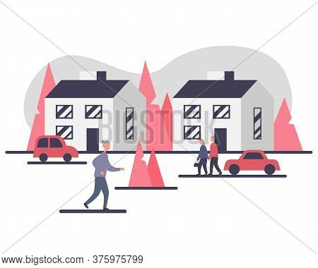 Independent Living Of Senior People Concept Vector Illustration. Exterior Of Two Houses And Cars And