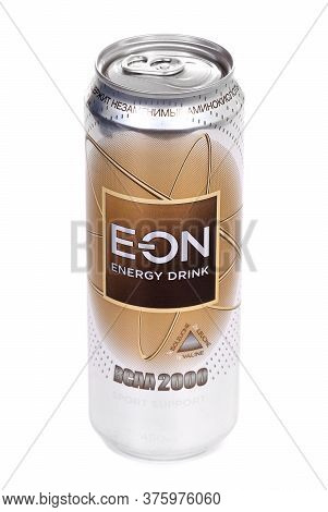 Novyy Urengoy, Russia - July 8, 2020: Aluminium Can Of The Eon Bcaa 2000 Isolated Over White Backgro