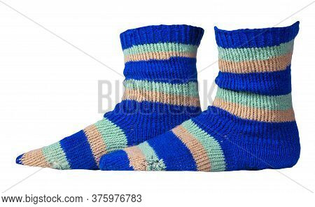 Woolen Blue, Turquoise, Beige Striped Socks Isolated On A White Background. Winter Accessories