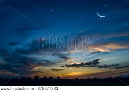 New Moon. Prayer Time. Generous Ramadan. Sunset In The Clouds And New Moon. Tranquility Of The Natur
