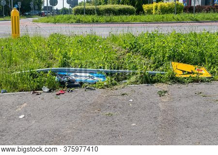 Overturned Road Signs As A Result Of A Road Collision.