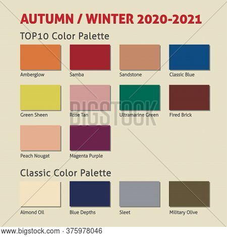 Autumn / Winter 2020-2021 Trendy Color Palette. Fashion Color Trend. Palette Guide With Named Color
