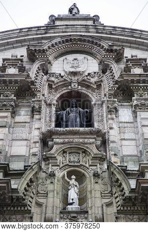 Detail Of Main Facade Of Cathedral Basilica Of Lima In Lima, Peru