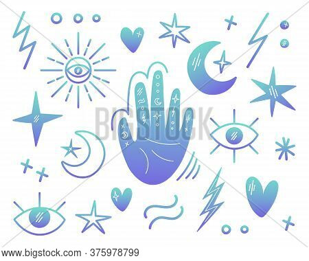 Illustrations On The Theme Of Magic, Voodoo, Palmistry. A Set Of Magic Symbols. The Hand With Signs,
