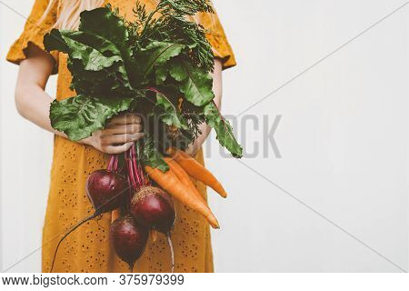 Vegan Food Organic Vegetables Woman Giving Beet And Carrot Bunch Healthy Eating Lifestyle Eco Bio Ve