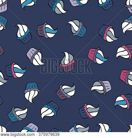 Seamless Pattern Hand Drawn Cupcakes. Blue, Black And White Color. Print For Bakery. Vector Illustra