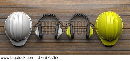 Hard Hats And Ear Protection Defenders On Wood. 3D Illustration