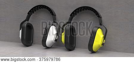 Ear Protection Defenders On Concrete Background. 3D Illustration