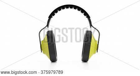 Ear Protection Headphones Isolated On White Background. 3D Illustration