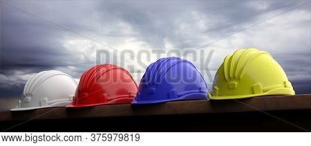 Safety Hard Hats On Grey Sky Background, 3D Illustration
