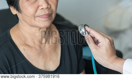Elderly Patient Heart Health Check By Medical Geriatric Doctor For Awareness In Stroke Systolic High