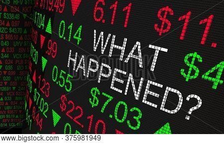 What Happened Stock Market News Analysis Ticker Wall Street Explanation 3d Illustration