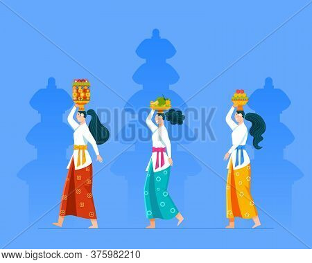 Balinese Girl On Hindu Ritual Parade To Perform Rite Ceremony. Suitable For Hinduism Theme.