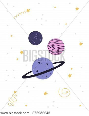 Children's Poster On The Space Theme. Planets And Stars In Cartoon Style. Vector Illustration, Poste