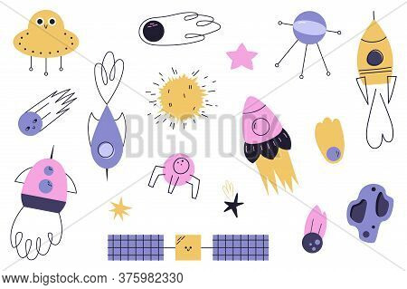 Vector Set Of Cartoon Space Illustrations. Funny Children's Illustrations On The Space Theme. Ufo, R