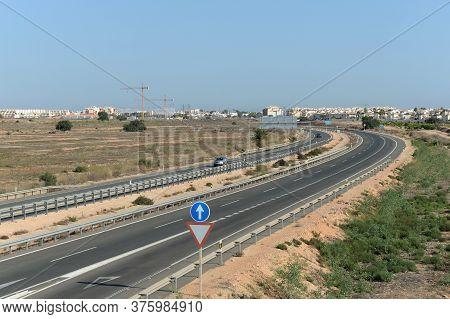 Orihuela, Costa Blanca, Spain - September 21, 2018:high-speed Road In Orihuela Costa. Spain