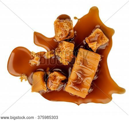 Caramel Toffee Candies Top View. Caramel Candies Isolated On White Background . Top View
