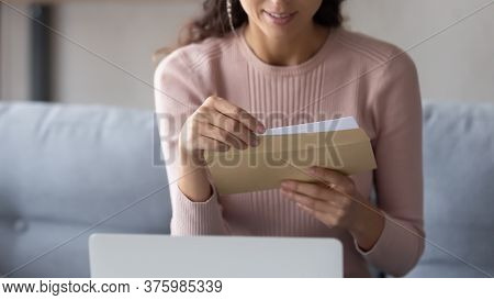 Close Up Of Woman Open Envelope With Postal Letter