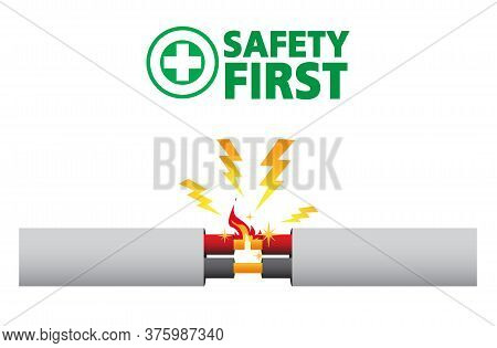 Faulty Damaged Cable. Short Circuit, House Fire, Safety First,vector Design