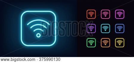Neon Wifi Icon. Glowing Neon Wi Fi Sign, Wireless Internet Technology In Vivid Colors. Wifi Button,