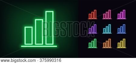 Neon Upward Graph Icon. Glowing Neon Growth Diagram Sign, Up Bar Chart In Vivid Colors. Financial Fo