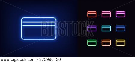 Neon Bank Card Icon. Glowing Neon Credit Card Sign, Online Banking In Vivid Colors. Virtual Card, In