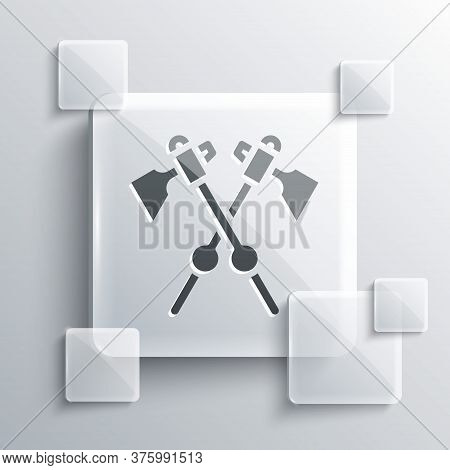 Grey Crossed Medieval Axes Icon Isolated On Grey Background. Battle Axe, Executioner Axe. Medieval W