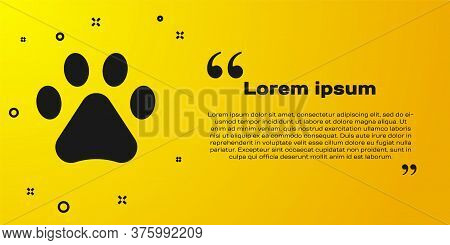 Black Paw Print Icon Isolated On Yellow Background. Dog Or Cat Paw Print. Animal Track. Vector