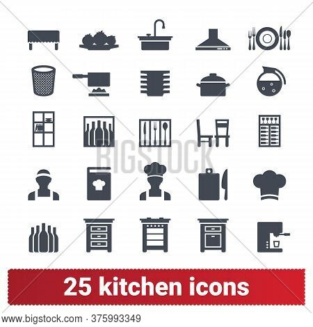 Kitchen And Cooking Icons. Vector Collection Of Home, Public Catering, Restaurant Symbols. Appliance