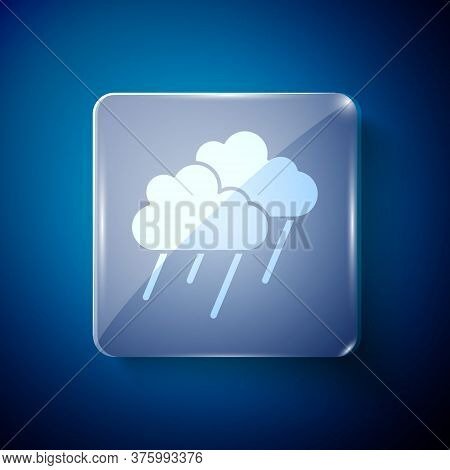 White Cloud With Rain Icon Isolated On Blue Background. Rain Cloud Precipitation With Rain Drops. Sq