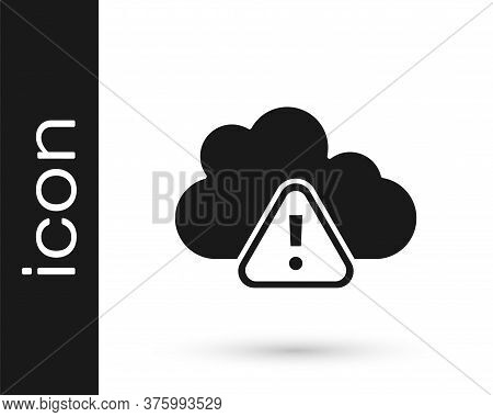 Black Storm Warning Icon Isolated On White Background. Exclamation Mark In Triangle Symbol. Weather