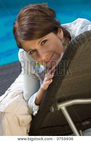Pretty Girl Near A Pool
