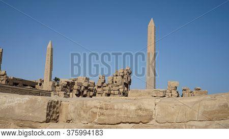Great Obelisk Monuments At Karnak Temple Luxor Egypt Landmark Build For Pharoah