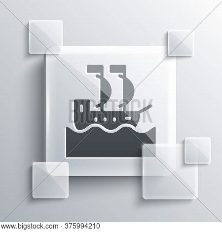 Grey Sailboat Or Sailing Ship Icon Isolated On Grey Background. Sail Boat Marine Cruise Travel. Squa