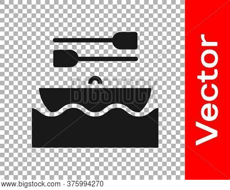Black Boat With Oars Icon Isolated On Transparent Background. Water Sports, Extreme Sports, Holiday,