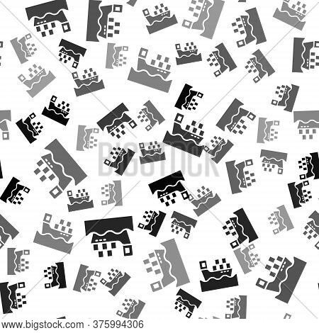 Black Cargo Ship With Boxes Delivery Service Icon Isolated Seamless Pattern On White Background. Del