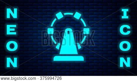 Glowing Neon Ferris Wheel Icon Isolated On Brick Wall Background. Amusement Park. Childrens Entertai