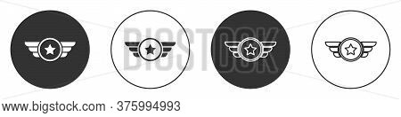 Black Star American Military Icon Isolated On White Background. Military Badges. Army Patches. Circl