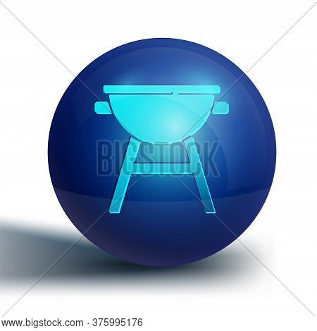 Blue Barbecue Grill Icon Isolated On White Background. Bbq Grill Party. Blue Circle Button. Vector