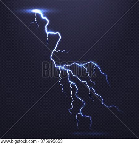Lightning, Natural Light Effect, Bright Glowing Isolated On Dark Background. Magic Thunderstorm. Fla