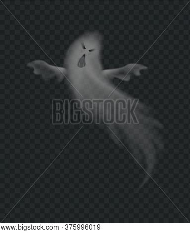 Realistic Ghost, Scary Monster For Halloween. Spooky Phantom Silhouette Isolated On Transparent Back