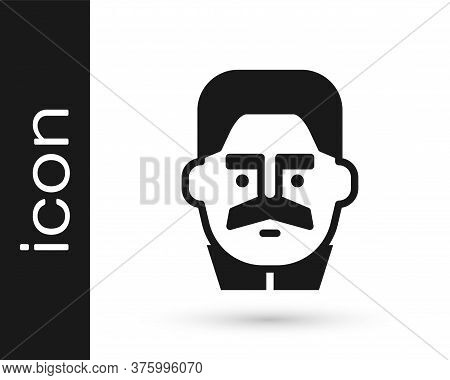 Black Portrait Of Joseph Stalin Icon Isolated On White Background. Vector
