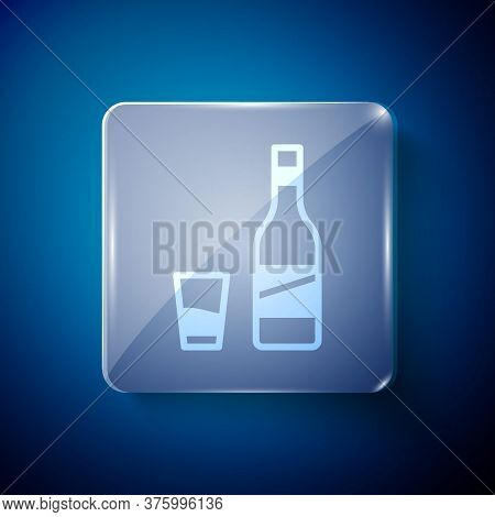 White Bottle Of Vodka With Glass Icon Isolated On Blue Background. Square Glass Panels. Vector