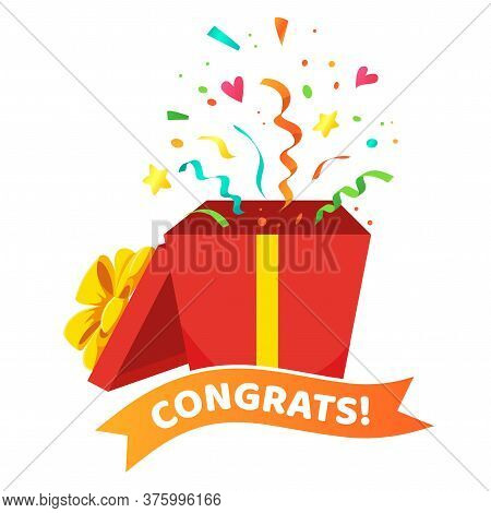 Congrats Poster With Open Gift Box, Ribbons And Confetti Isolated On White Background. Surprise Cart