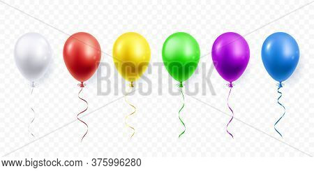 Colorful Festive Balloons Isolated On Transparent Background. Helium Balloon In Different Colors. 3d